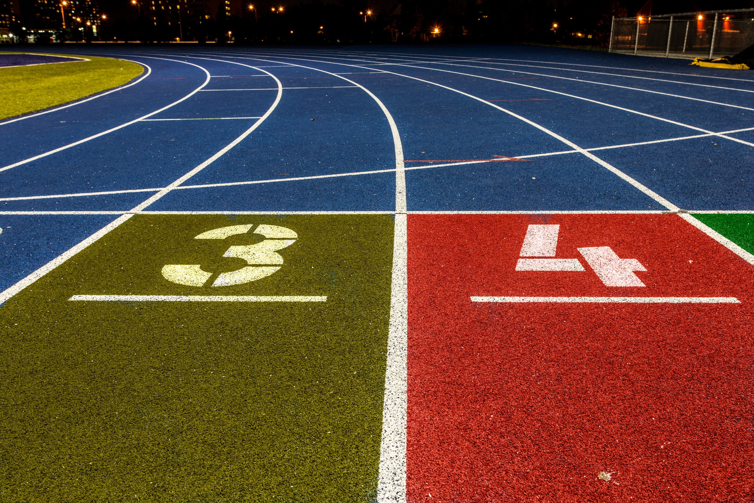 Polymeric athletic track surfaces feature high quality grip and cushioning suitable for all levels of athletics.