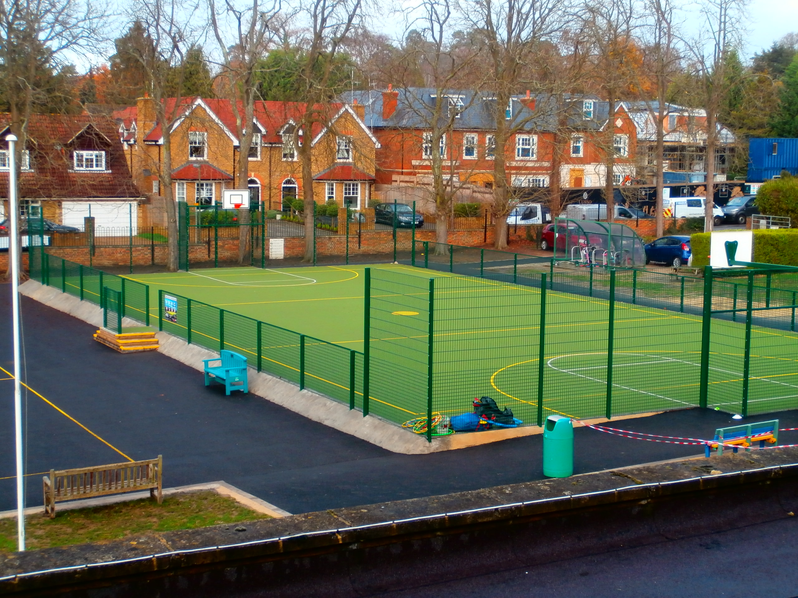 A bird's eye view of the brand new MUGA pitch at Royal Kent School in Surrey