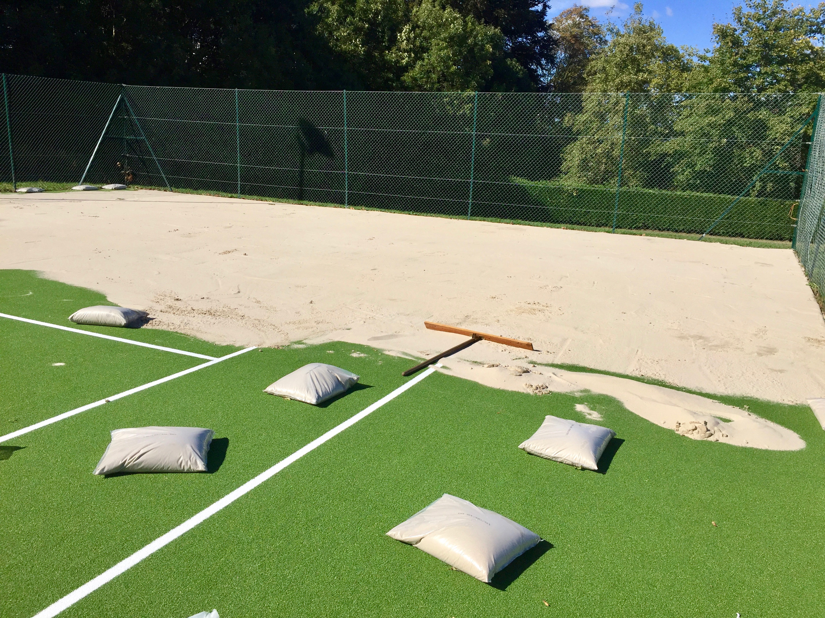 Progress with the new tennis surfaces in Muswell Hill