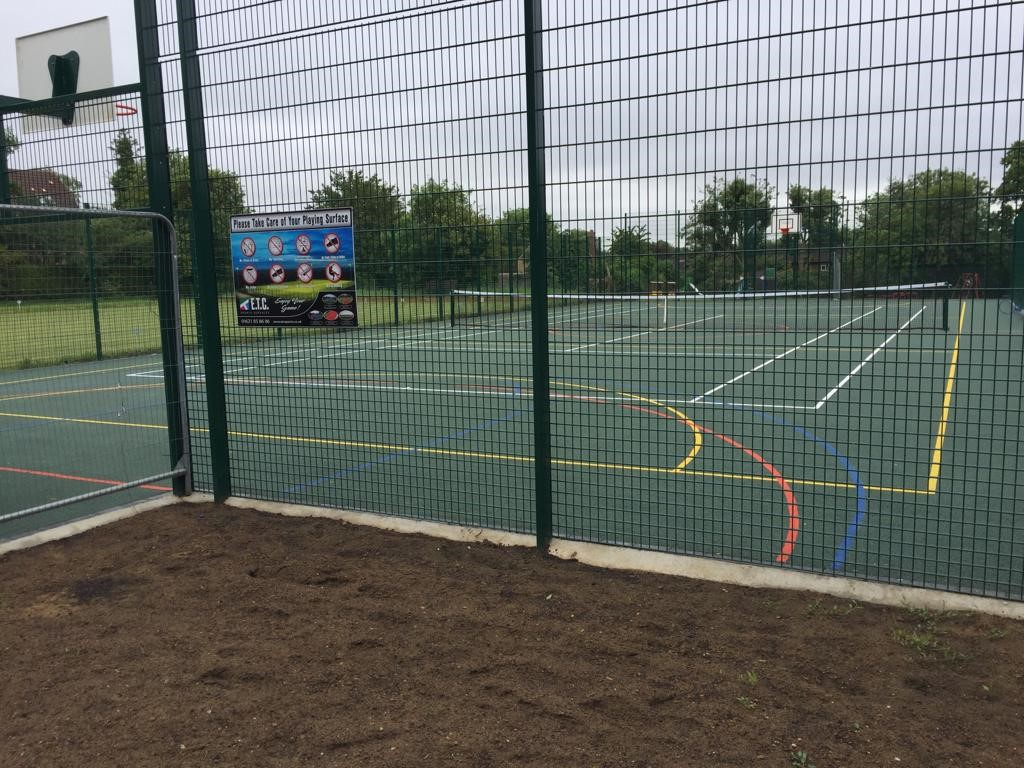 This new MUGA surface has been fully secured with robust double wire fencing.