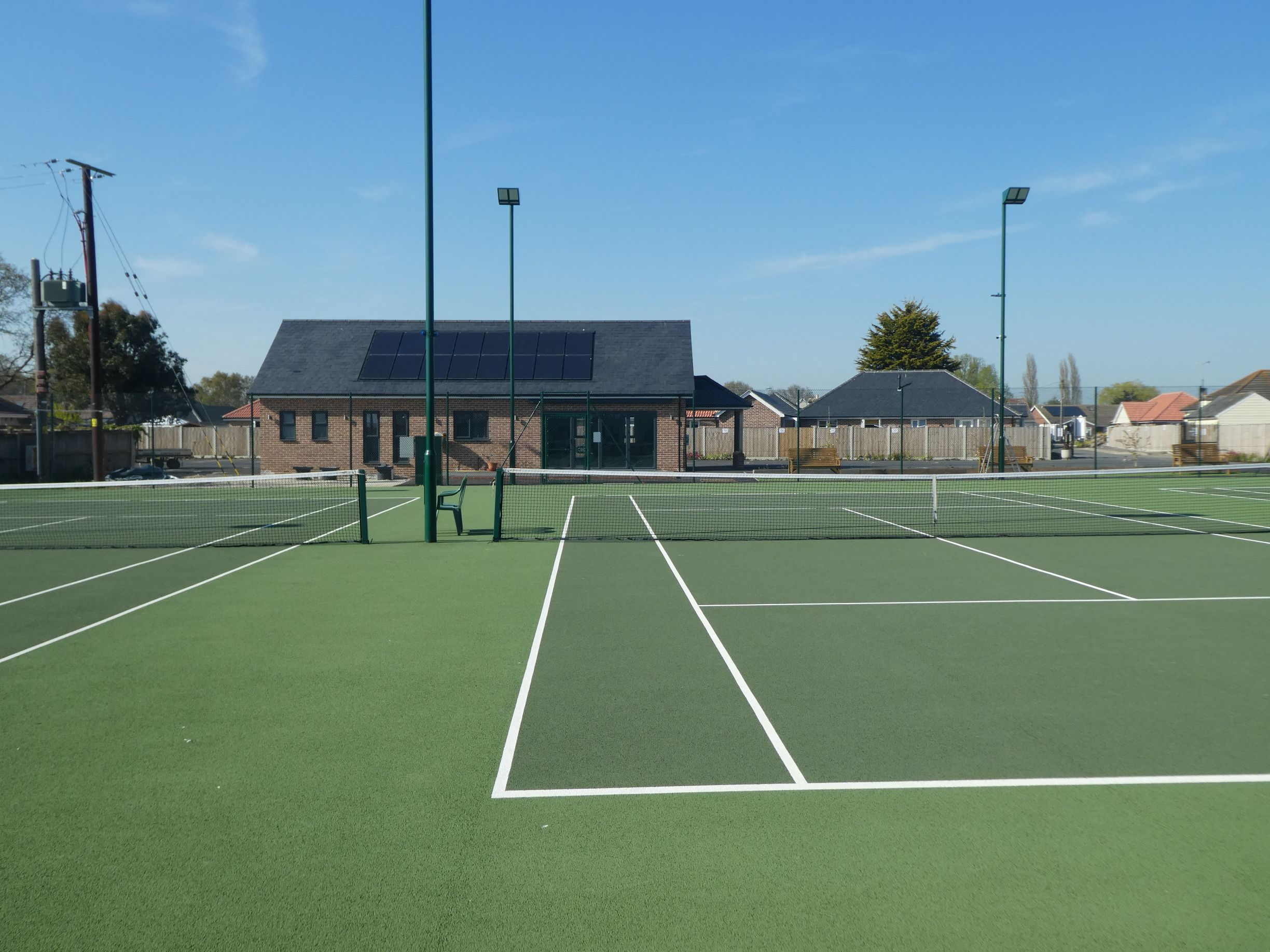 This complex upgrade programme for Little Clacton Tennis Club included four new courts, finished with eco-friendly tennis court floodlights