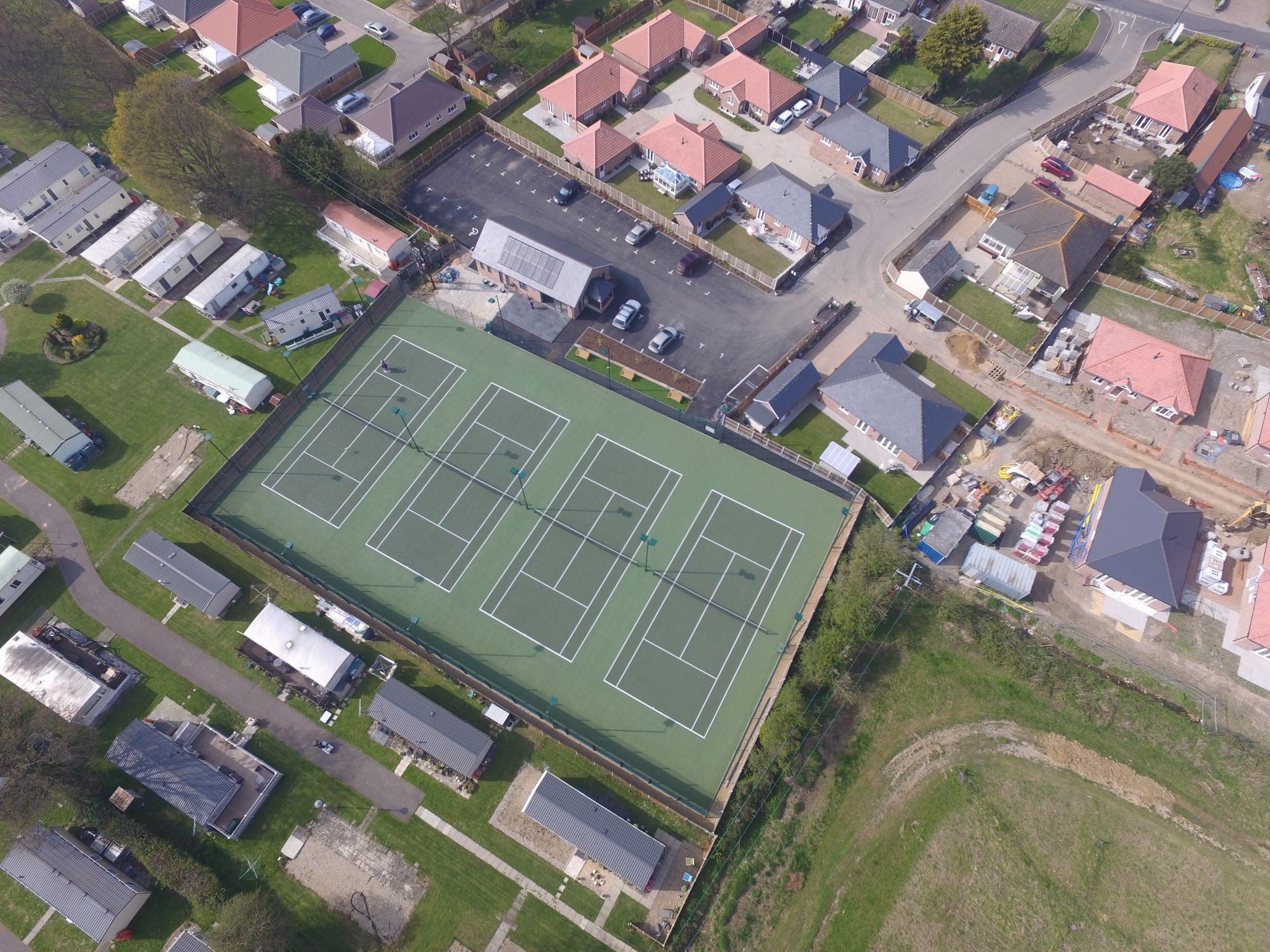 New, fully compliant SAPCA hard tennis courts for a tennis club in Essex